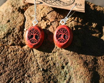 Wood Tree of Life Earrings- in Paduk- Wooden Jewelry,