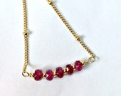 VALENTINES SALE Ruby Gemstone Bar Necklace Layering Delicate Minimal Stacking Necklace Sterling Silver 14k Gold Filled Chain Gift For Her