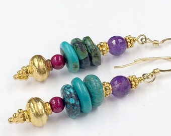 SUPER SALE 40% OFF Turquoise Earrings, Amethyst Earrings, Gold Vermeil, Stacked Gemstone Earrings, Colorful Earrings