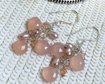 25% SALE Peach Dangle Earrings Wire Wrap Peach Pink Chalcedony Sterling Silver Jewelry Handmade Dangle Earrings Pearls Crystals