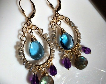 40% SALE London Blue Topaz Chandelier Earrings, Wire Wrap Gold Fill Handmade Amethyst, Labradorite Leverback, Gift for Her, Spring Fashion