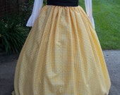 SALE Colonial,Civil War,Victorian,costume Long drawstring SKIRT Yellow and white checked Taffia,Handmade
