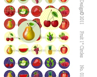 "INSTANT DOWNLOAD - Fruits- 1 inch Circles - Bottlecaps -  Digital Collage Sheet High Resolution images in 1"" circles"