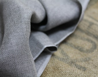 French Grey Twill Fabric Vintage c.1960 Herringbone Weave Striped Cotton Blend Pillow Cushion Ristic Country Textile