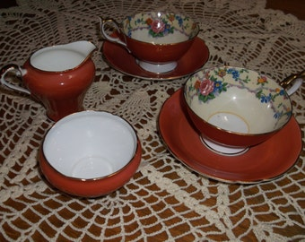 Vintage Ansley Rose Tea Cups with Sugar and Creamer Sale