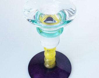 Kosta Boda Candlestick Holder, signed Kjell Engman, Vintage Glass, Swedish