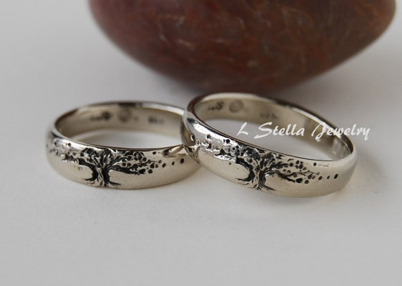 Tree of life Wedding Band Set 14K 5.5mm WIDE yellow gold, rose or white His-hers//unisex
