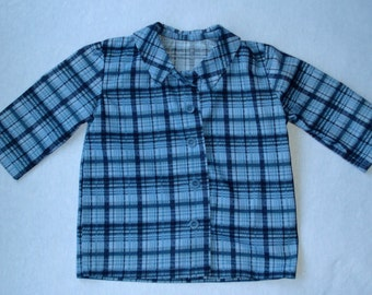 T3 Boy's Shirt: Plaid, Long Sleeves, Cotton