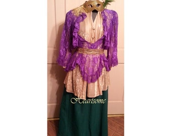 Masquerade Full costume Queen Mardi Gras Gala Ball gown dress plus sz lrg gold purple green OOAK