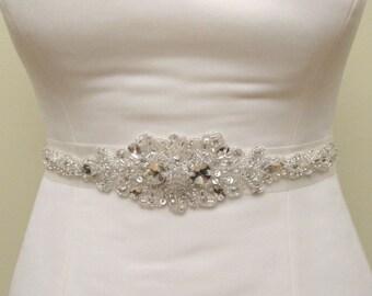 Rhinestone Applique Beaded Bridal Wedding Belt  Rhinestones Sash