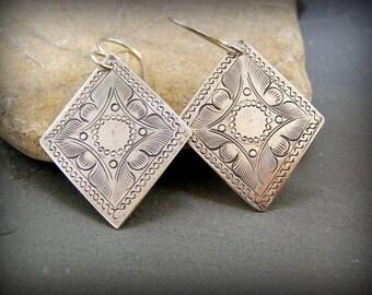 Silver Earrings, Diamond Shape Earrings, Bohemian Earrings, Boho Earrings, Tribal Jewelry, Southwest Earrings, Ethnic Dangle Earrings