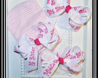 Newborn Hospital hat, little sister, big sister bows,Newborn hat, Infant hats with optional matching middle and Big Sister Hair bow