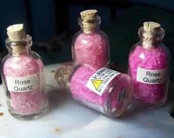 1 pink stone chip bottle jar with cork - rose quartz october birthstone color tiny pebble - glass vial gemstone jar coyoterainbow