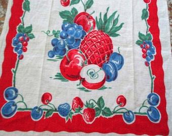 Vintage Kitchen Towel - Red, White & Blue Fruit - Red Border Print