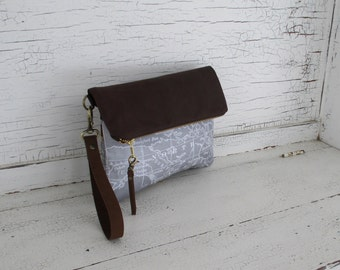 Gray Map Print & Leather Clutch Purse, Wristlet, Diaper Clutch