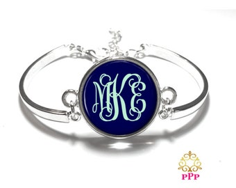 Navy and Mint Monogram Bracelet, Monogram Bangle, Monogram Jewelry, Bridesmaid Gift, Personalized Bracelet - Style 645