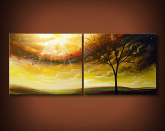 "Art deco tree painting Original Painting 56"" large wall art abstract painting acrylic canvas christmas gift wall decor wall hangings"