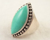 Size 11 Huge Vintage Studded Sterling Marquise Turquoise Stone Ring