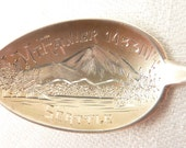 Antique Sterling Mount Rainier, Seattle Souvenir Spoon with Engraved Bowl and Floral Handle