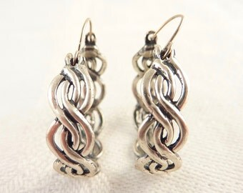 Vintage Braided Sterling Hoop Earrings