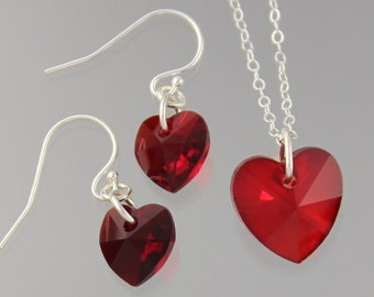 Siam Ruby Red Heart Necklace & Earrings Set -sparkly vibrant red Swarovski crystals - sterling silver chain and ear hooks -free shipping USA