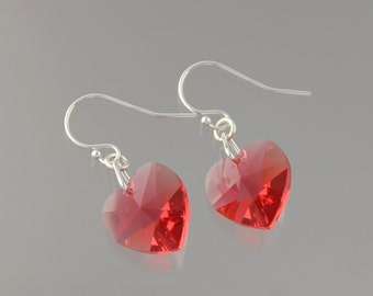 Padparadscha Pink Crystal Heart Earrings - brilliant pink Swarovski crystal hearts on sterling silver hooks - free shipping in USA