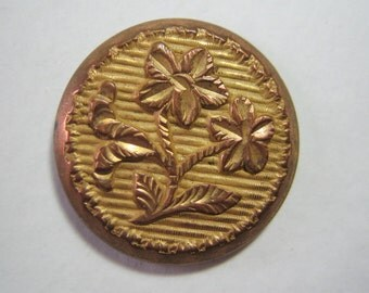 Beautiful Golden Age Gilt Button with Floral Chasing and patterned background