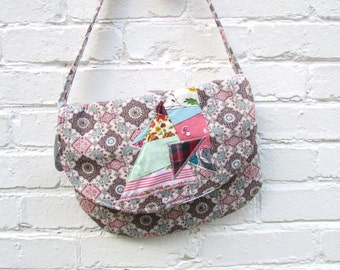 the rosy quilt bag ... one of a kind, vintage cotton, cross body bag