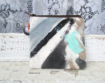 the neutral elements pouch #1 ... one of a kind, hand painted, zip top pouch