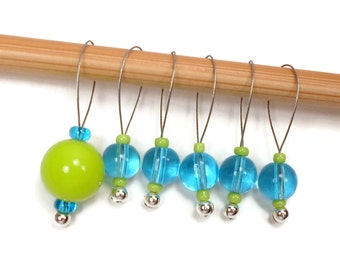 Beaded Stitch Markers Knitting Accessory Snagless Beaded Aqua Blue Lime Green