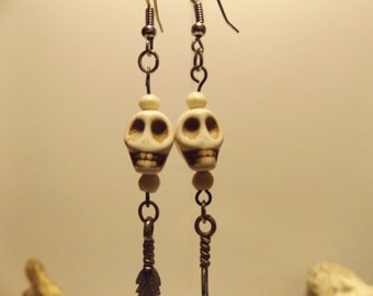 Skull and Feather Dangle Earrings, Healing Crystal Jewelry, Healing Crystal and Stones,Primative Pagan Tribal Jewelry