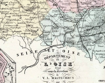 1800s Antique Map of Oise, France - Inset of Beauvais- French map - Hand-coloured map
