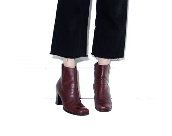 Burgundy Siena leather boots 9 M // womens boots chunky boots ankle boots tall skinny booties chelsea boots square toe