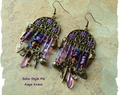 SALE - Passport to Fantasyland, Purple Assemblage Earrings, Unique Art Jewelry, Statement Earrings, BohoStyleMe, Kaye Kraus