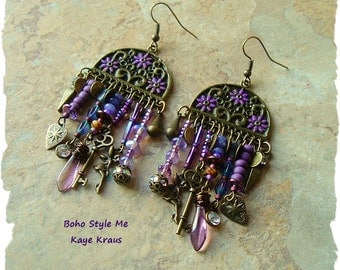 Passport to Fantasyland, Purple Assemblage Earrings, Unique Art Jewelry, Statement Earrings, BohoStyleMe, Kaye Kraus