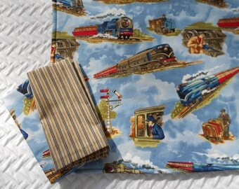 Kid's Lunchbox Set, Modern Trains, Placemat and Two Napkins, School Placemat Set and Napkins, Fabric  Placemat Set, Washable Placemat, Cloth