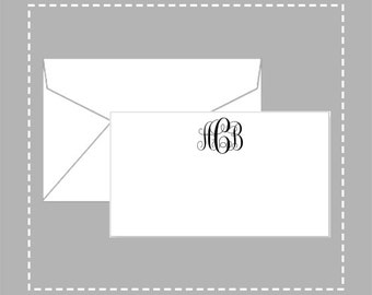 Personalized Gift Enclosure Cards with Mini-Envelopes - Monogram