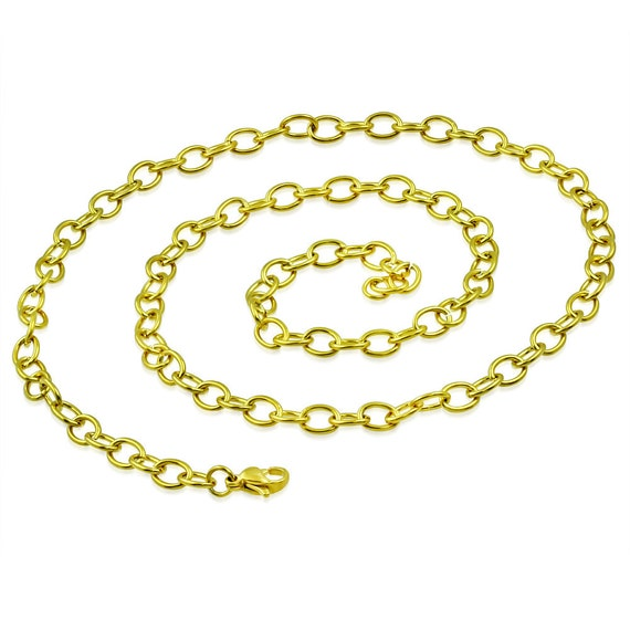 "3 Chains Gold Anodized SS  21"" Long x .19"" Stainless Steel Lobster Claw Clasp Oval Link Chain  316L"