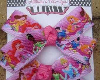 SALE Disney Princess inspired MINI Piggies 2 Pigtail Bows Custom Boutique Hair Bow Cinderella, Ariel, Belle, Aurora, Tiana, Snow White