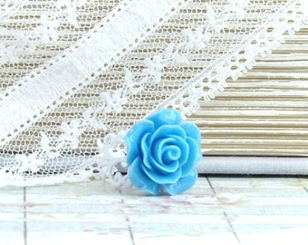 Sky Blue Ring Blue Floral Ring Shabby Chic Ring Blue Rose Ring Statement Ring Blue Flower Ring