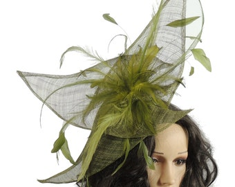 Viktoria Olive Fascinator Hat for Weddings, Races, and Special Events With Headband