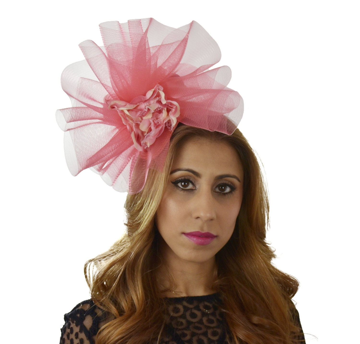 Coral Pink Cream Ascot D Fascinator Hat For Kentucky Derby
