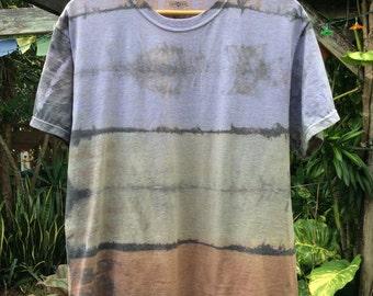 Mens Large purple, green fade to brown Shibori Landscape tie Dye T-shirt