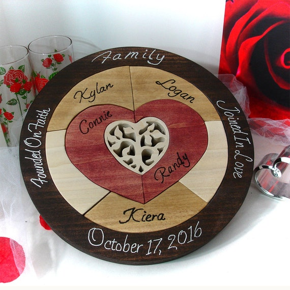 Designed tree of life unity ceremony wedding puzzle unity ceremony