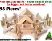 98 Classic Wood Building Blocks - Handcarfted Natural Wood Toy Blocks - LOWEST PRICE on ETSY - - - - Christmas Special- - - -