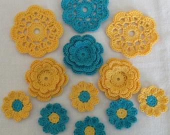 Crochet Flower Appliques, Embellishments, Variety  - set of 12, Yellow, Parakeet