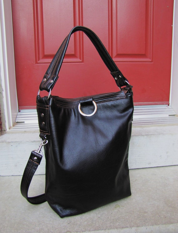 Brown Leather Fold Over Bag Cross body & Shoulder tote purse