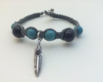Turquoise & Black Stone Feather Macrame Hemp Bracelet (0122)
