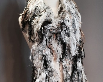 Birds of a Feather - Luxurious Hand Knit scarf, white scarves, black and white with fringe, boho fringe scarves, chunky, chic