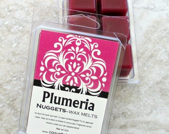 Plumeria scented wax melts, tropical floral fragrance, sweet floral, no burn home scent, realistic floral